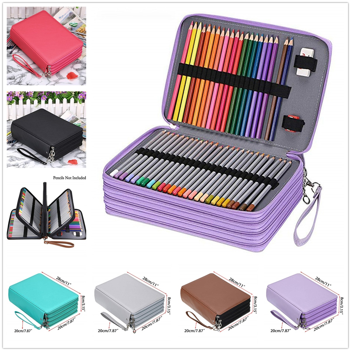 200 Holes PU Leather School Pencil Case Large Capacity Colored Pencil Bag Box Multi-functional Pencilcase For Art Supplies Gift