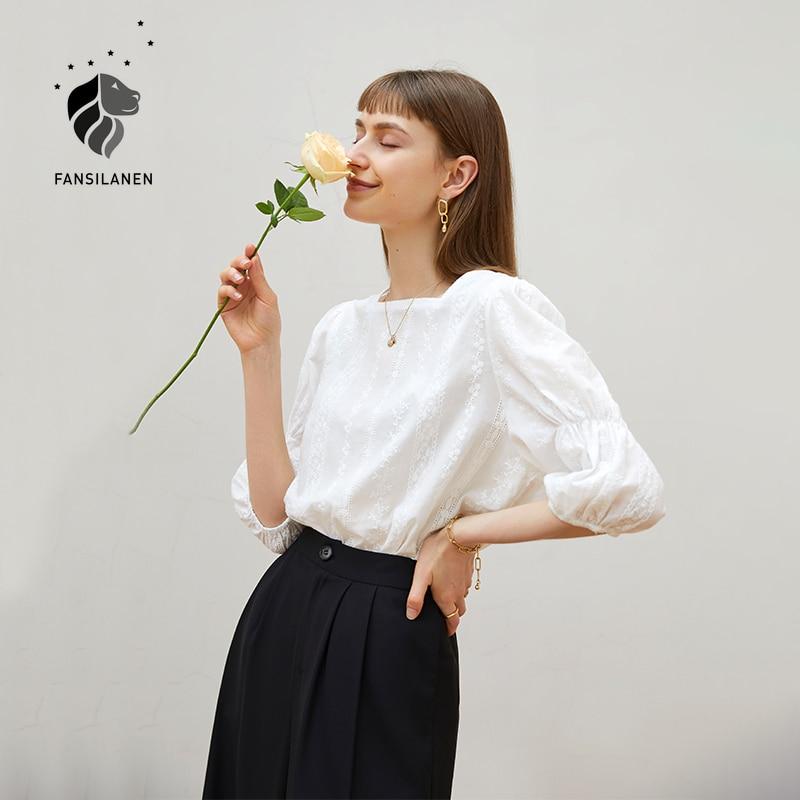 FANSILANEN مكتب سيدة ساحة الرقبة قميص المرأة الصيف رقيقة الفرنسية شيك أفضل تصميم المتخصصة 100% القطن الأبيض قميص المرأة البلوزات