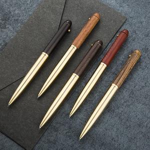 High Quality Metal Wooden Ballpoint Pen Golden Pen Grip 0.5mm Nib Sign Pen Office Stationery Gift