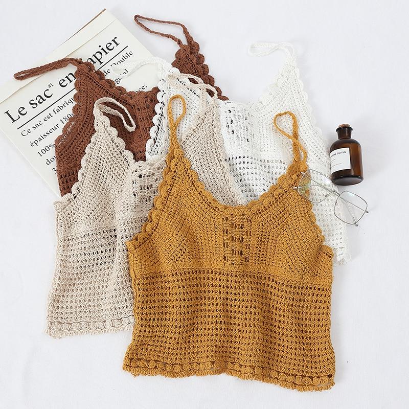 Camisola de punto calada a Crochet para Mujer, Top corto sexi, Camiseta de Tirantes para Mujer, Regata femenina, Debardeur para Mujer