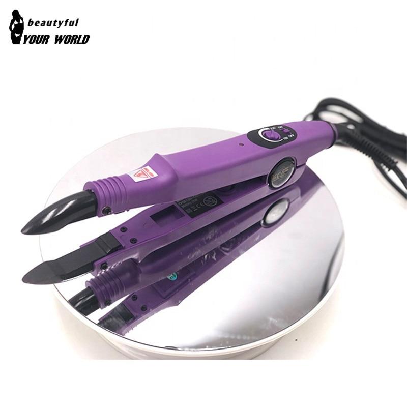 Loof وصلة شعر صغيرة تعديل درجة الحرارة الكيراتين ماكينة لصق الشعر الكهربائي تمديد الحديد الحرارة لوحة مسطحة الانصهار أداة