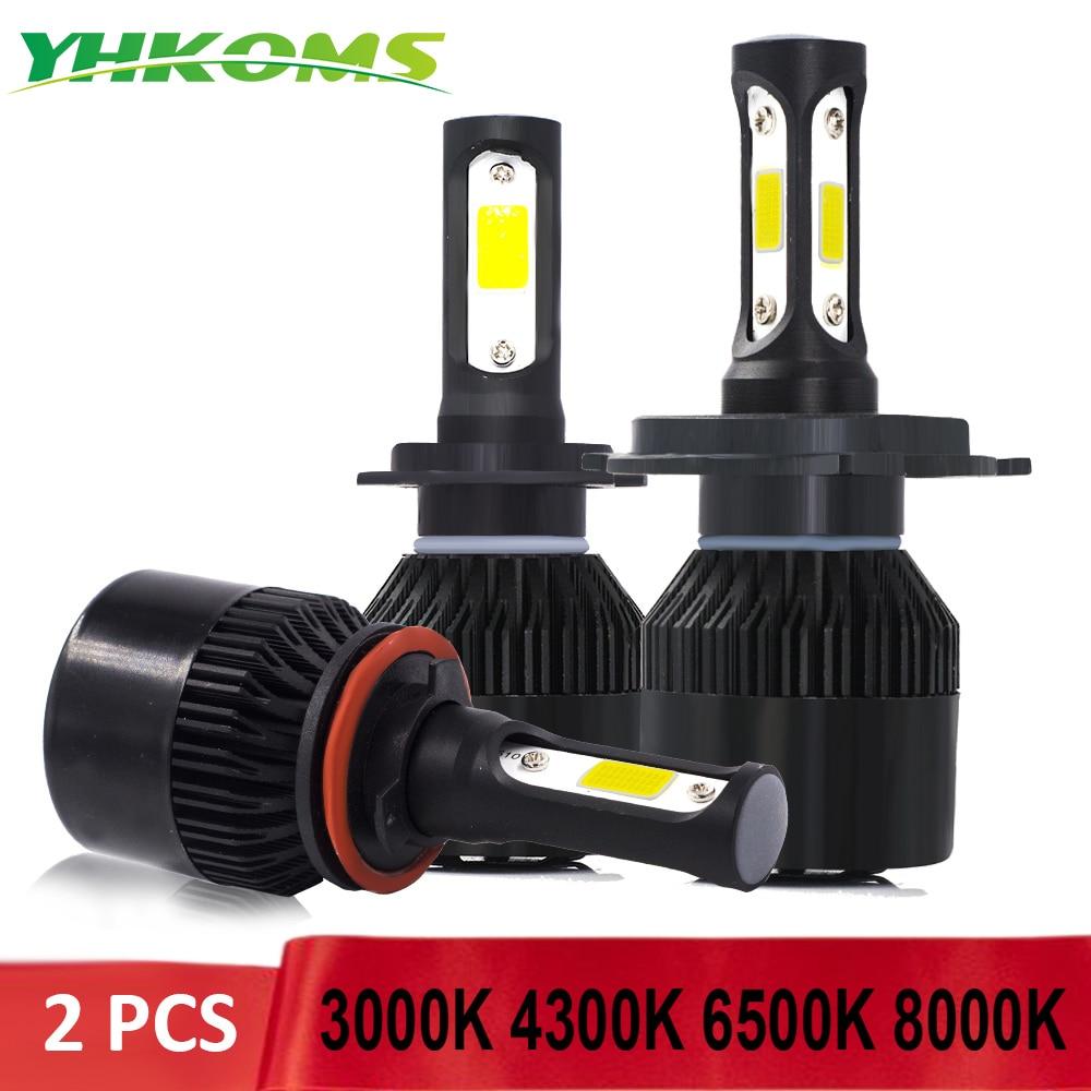 YHKOMS 2 Pcs 72W 8000LM 3000K 4300K 6500K 8000K H4 H7 H1 LED Car Headlight H8 H9 H11 9005 HB3 9006 HB4 H3 880 881 Auto Fog Light