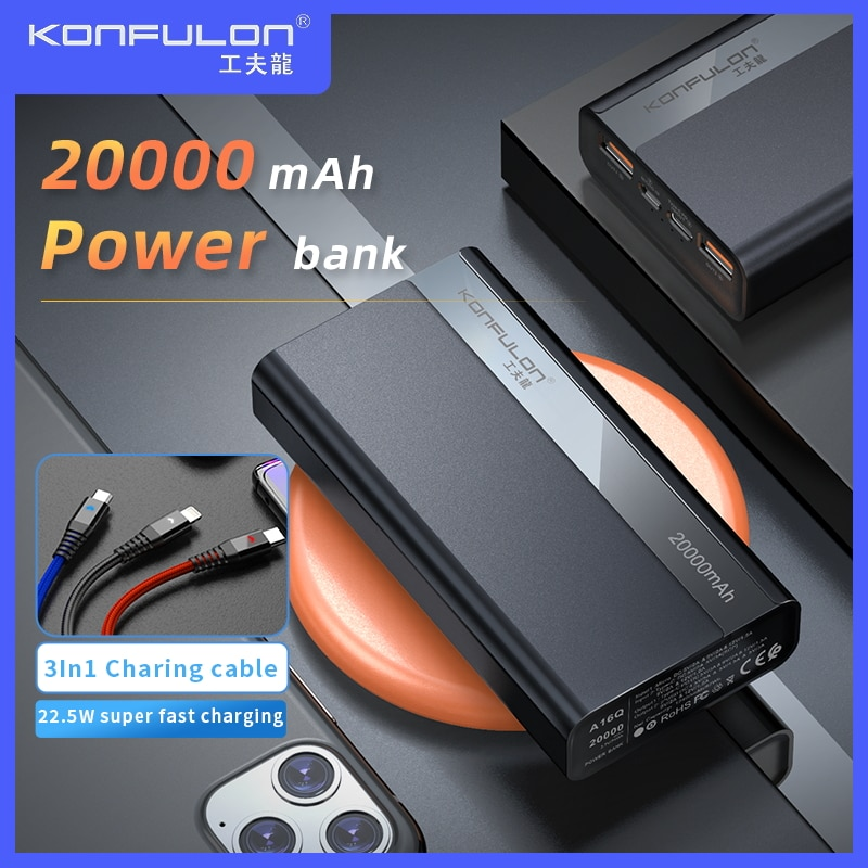 20000 mAh باور بانك ، 22.5W ، 20000 mAh ، شحن سريع ، لـ Vivo /PD QC3.0 ، iphone 12 ، xiaomi ، Huawei