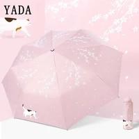 yada custom cherry blossoms flower umbrella rain women uv charm animal cat umbrella for womens windproof folding umbrellas ys819