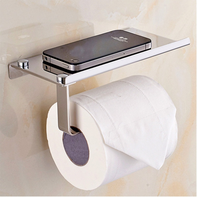 Wall Mount Toilet Paper Holder with Phone Shelf 304 Stainless Steel Toilet Paper Roll Holder Tissue Holder Bathroom Accessories bathroom accessories sus304 matte black or brushed finish toilet paper roll holder wall mount bathroom toilet tissue holder