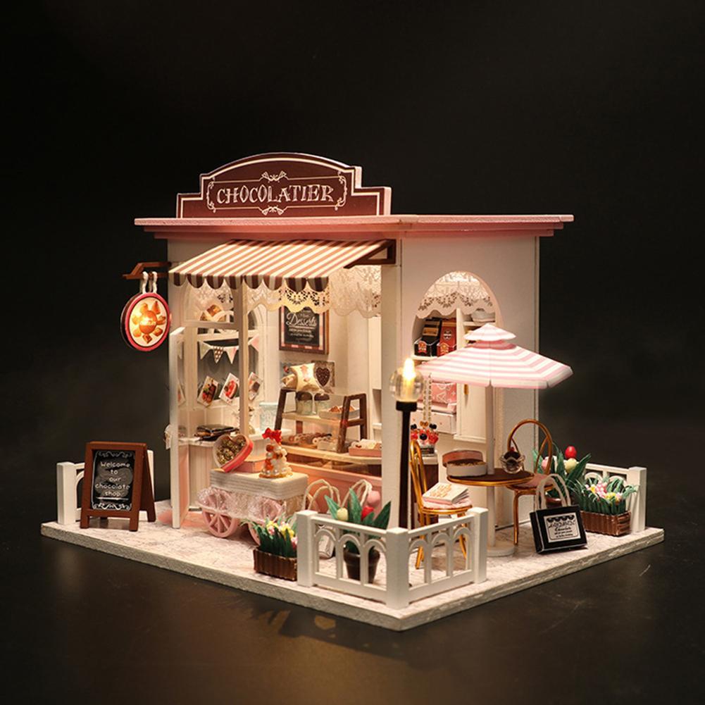 DIY LED tienda de Chocolate en miniatura muebles de casa de muñecas 3D casa de muñecas hecha a mano manualidades de juguete decoración de escritorio juguetes educativos para niños