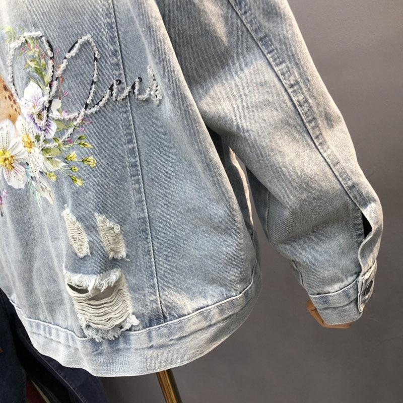 Harajuku Blue Jean Jacket Female Spring 2021 Loose Fashion Deer Print Beaded Hole Denim Jacket Ropa de mujer Casual Long sleeve