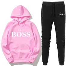 Mode Ja Boss Trainingspak 2 Delige Set Herfst Winter Trui Hoodie + Broek Sport Pak Vrouwelijke Sweatshirt Sportkleding Pak Vrouw