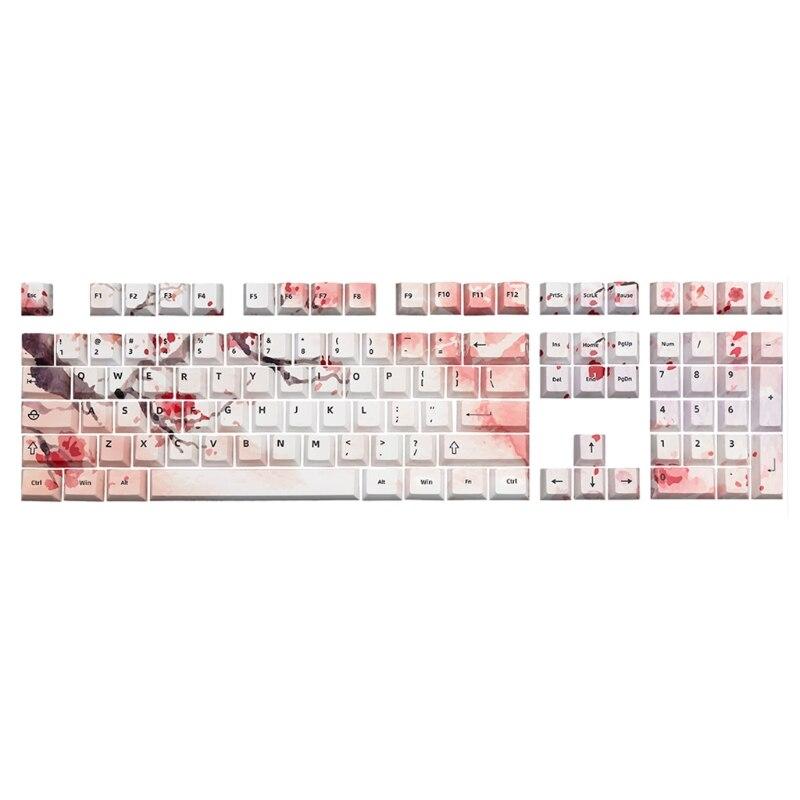 D08B 108 مفاتيح/مجموعة الكرز الشخصي Keycap PBT صبغ التسامي مفتاح للوحة المفاتيح الميكانيكية MX 61/87/104 النمط الوردي