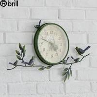 creative 3d wall clock vintage metal living room green home decorative bedroom silent stickers walls decoration unique gift 50