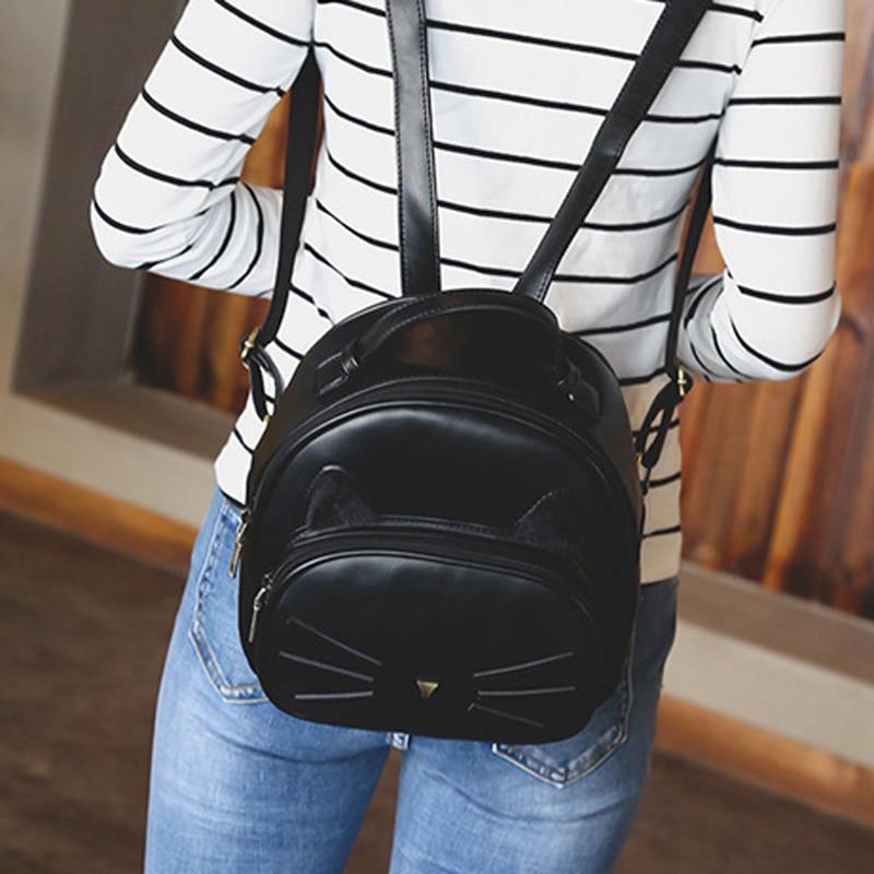Pu Black Brown Backpack Women Cute Cat Beard Travel Rucksack Backpack Girl Students High Capacity School Bag 2020 New Bag