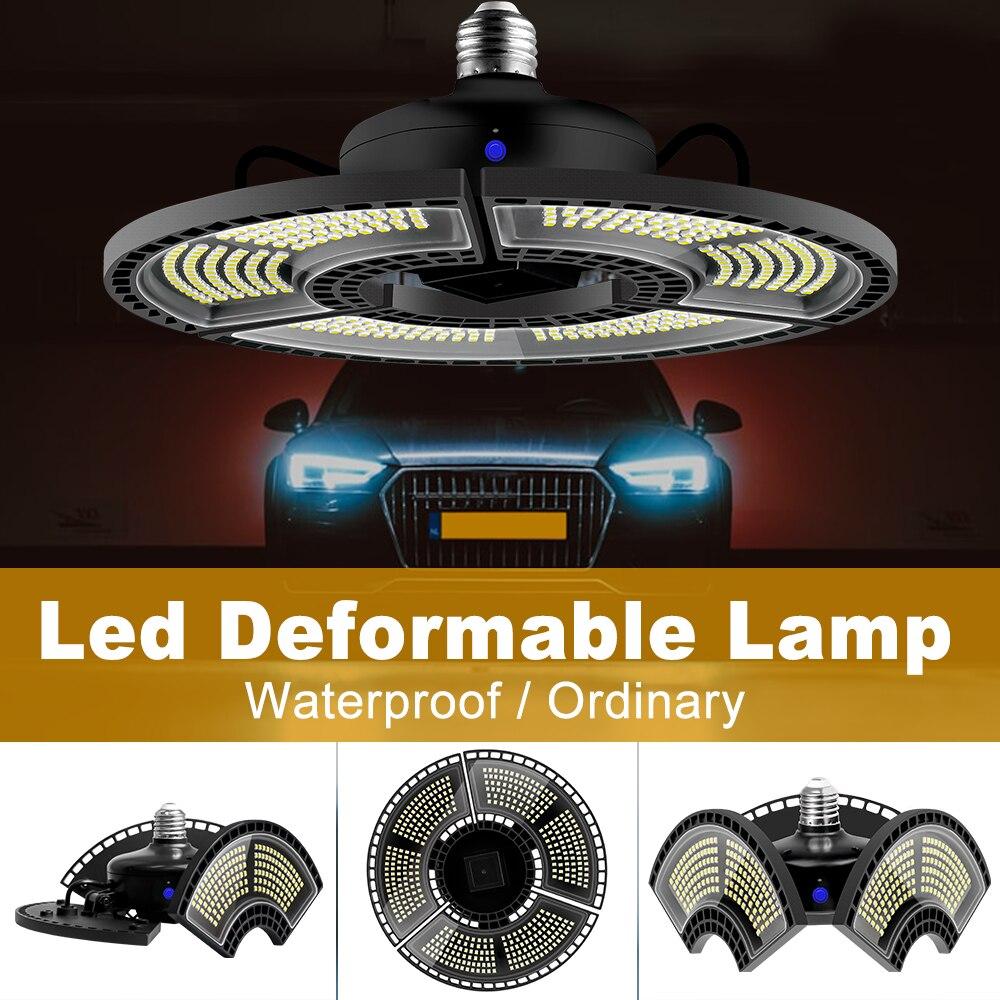 Deformables luz LED para garaje 60W 80W 100W 120W E27 lámpara LED con forma de OVNI E26 Lampada LED Bombilla 220V a prueba de agua de alta Lumen bombilla de luz 110V