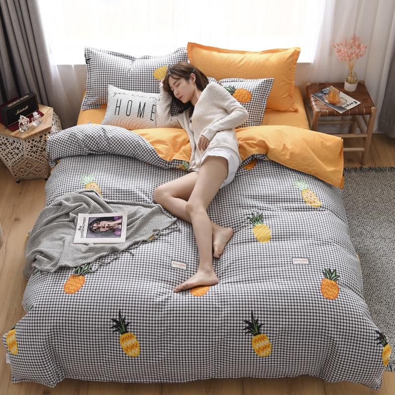 Kotudenphy حاف الغطاء بلون نقي غطاء لحاف من القطن كلا الجانبين تصميم طقم سرير عالمي مفارش + المخدة