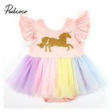 Pudcoco été 2020 licorne bébé filles princesse robes rayé sans manches fête de mariage Tutu Tulle robes arc-en-ciel bébé vêtements