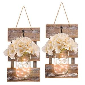 2 Pack Mason Jar Wall Decor with LED Fairy Lights and Flowers - Farmhouse, Home, Garden Decoration Accessories