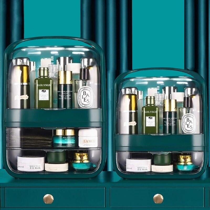 مخزن للمكياج صندوق الغبار شفافة التخزين المنظم ماكياج صندوق الجمال مسمار التجميل مجوهرات المنظم صندوق هدايا عيد الميلاد