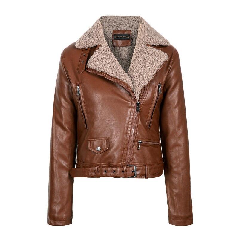 Куртка женская зимняя из искусственной кожи теплая Байкерская уличная одежда с