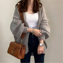 Autumn Knitted Sweater Women Long Sleeve Mid-Length Plain Loose Cardigan Korean Style Office Lady Cl