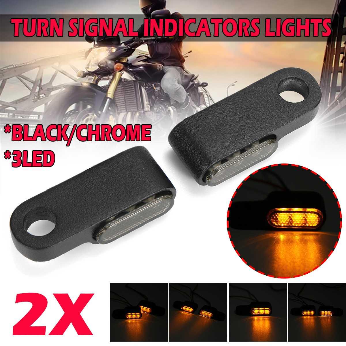 Pair 12V Motorcycle Indicators LED Turn Signal Light Handlebar Amber signal lamp Blinker Aluminum Alloy Black/Chrome