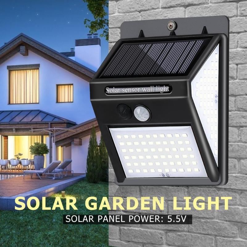 Lámpara de pared con Sensor de luz por movimiento PIR Solar 140LED de tres lados para exteriores IP65 luces solares de jardín impermeables Luz de seguridad de emergencia