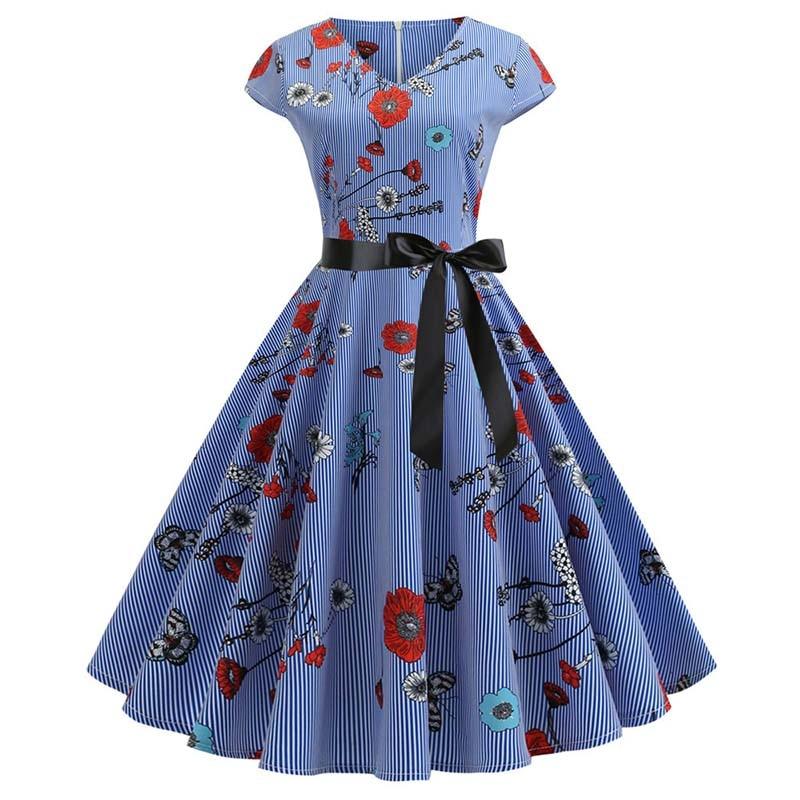 Women Vintage Summer Dress 50s 60s Retro Elegant Plus Size Party Dresses 2019 V Neck Rockabilly Pinup Casual Floral Vestidos