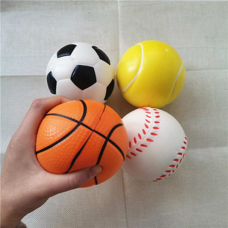 4pcs/lot 10cm Baby Soft Foam Toy Basketball Football Tennis Baseball Anti Stress Squeeze Balls PU Sponge Toys for Kids Children