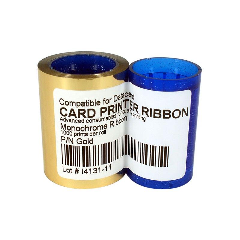 DC285GL الذهب اللون الشريط 1000 يطبع/لفة ل Datacard SP25 SP30 SP35 SP55 SP75 CP40 CP60 CP80 بطاقة طابعة