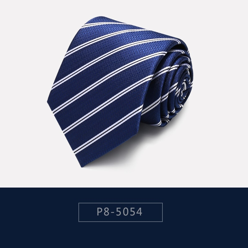 High Quality 2020 Designer New Fashion Blue Floral Striped 8cm Ties for Men Necktie Wedding Business Formal Suit with Gift Box
