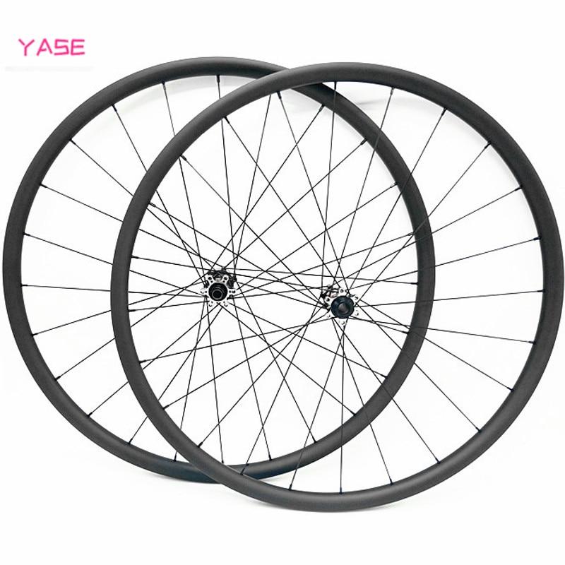 YASE 29er carbono mtb las ruedas de disco rodas mtb 29x30x25mm asimetría tubeless NOVATEC D411SB-D412SB 100x15 142x12 juego de ruedas de carbono