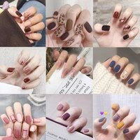 24pcs fake nails detachable artificial nail nail tips for extension manicure art french design press on nail short round