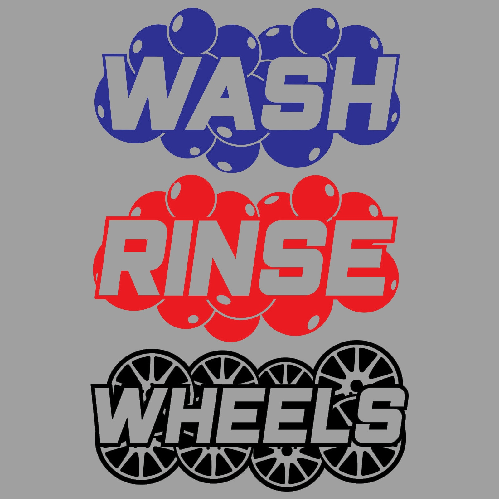 Wash, Rinse & Wheels Detailing & Valeting Vinyl Bucket Decal Stickers Car Wash