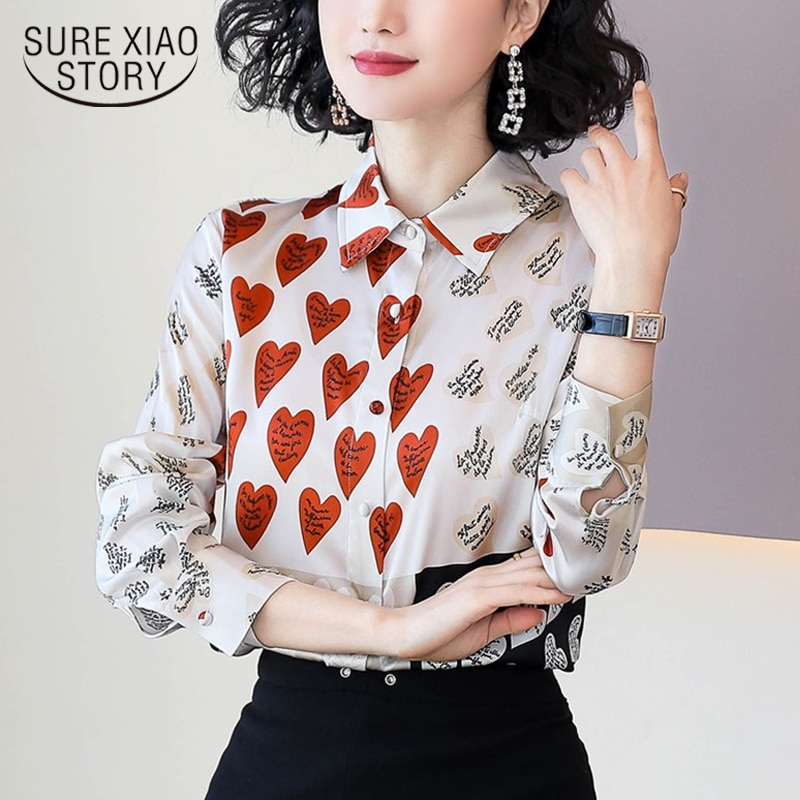 Polo Collar Cardigan 2020 primavera camisa de manga larga de impresión de corazón de moda de seda blusa Casual mujeres elegantes Tops de gasa 8094 50