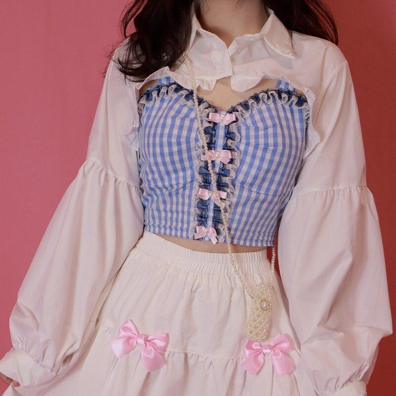 قطعة علوية نسائية صيفية مزركشة بالدانتيل مزينة بفيونكة جميلة Y2k ملابس علوية يابانية نمط لوليتا