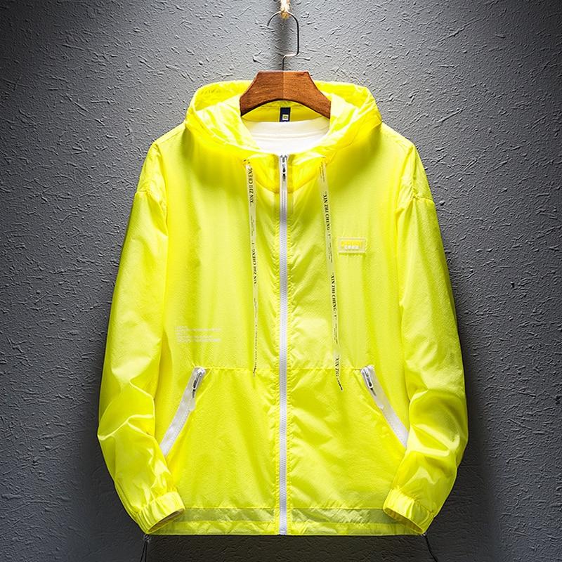 2021 мужские летние светильник капюшон куртки модная Светоотражающая тонкая ветровка с принтом Солнцезащитная одежда с зашитой от уф, пляжны...