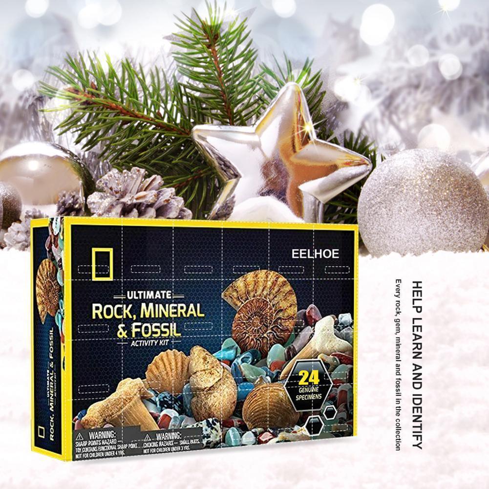 Рождественские скалы, минералы, ископаемые, календарь, минералы, Подарочная коробка, каменные драгоценные камни, детские развивающие игруш...