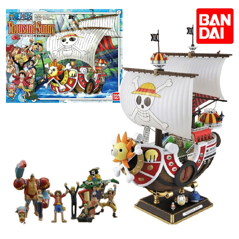 Bandai One Piece Figure Thousand Sunny 29CM ABS Anime Assembly Assembling Model Collection Toys Big Pirate Ship Birthday Present