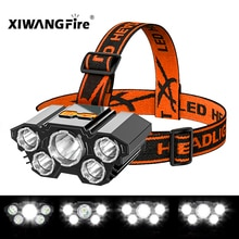 Drop Shipping 5LED With Built-in 18650 Battery USB Rechargeable Portable Flashlight Lantern Headlamp Outdoor Camping Headlight