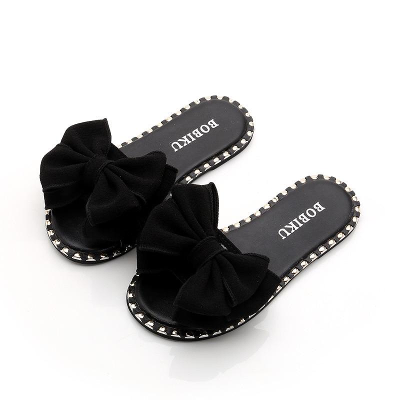 Casual Bowtie Soft Sandals Medium Big Girls Sequins Kids Beach Shoes Summer Bow-knot Children's Princess Butterfly-knot Slippers