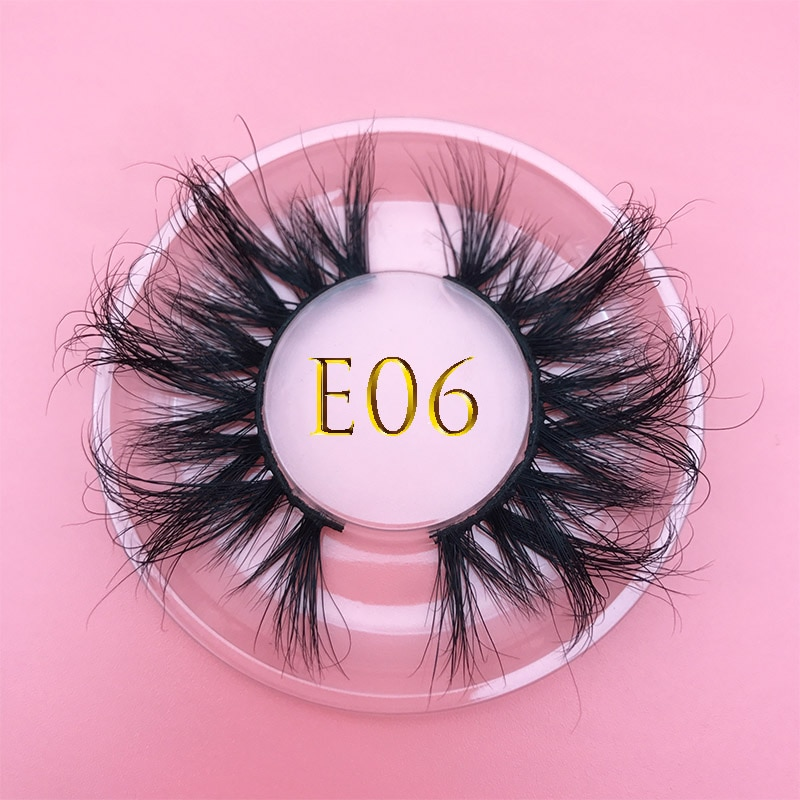25mm E06 MIKIWI 100% handmade natural thick Eye lashes wispy makeup extention tools 3D mink hair vol