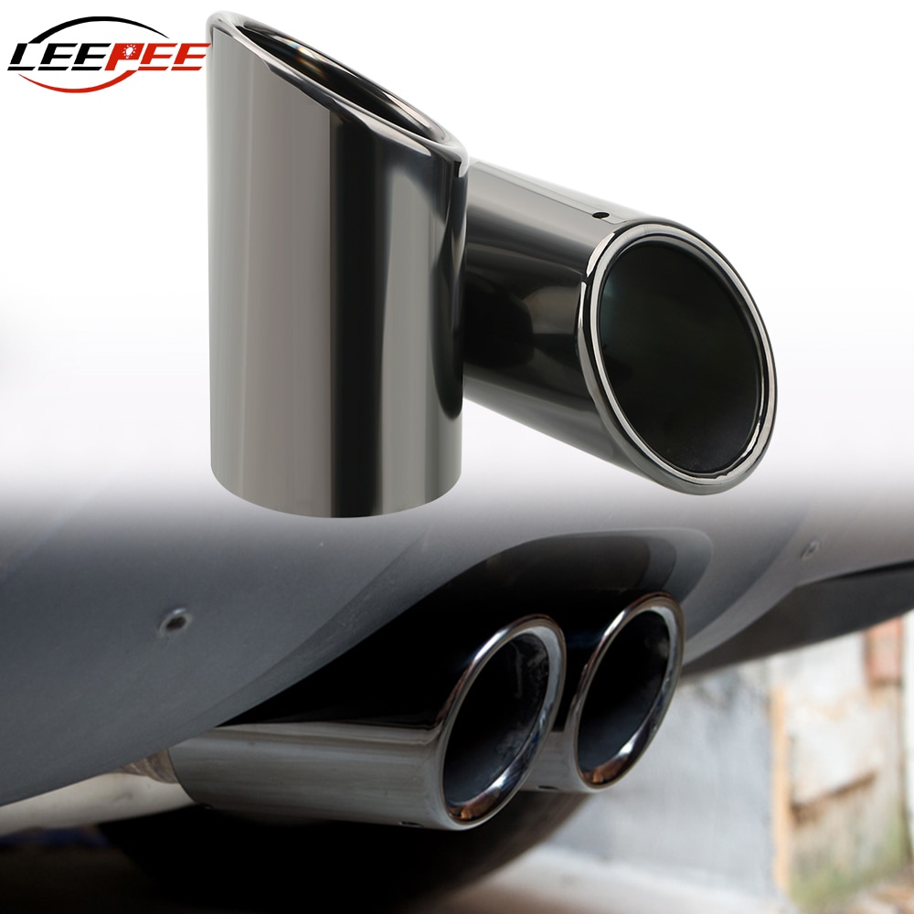 Leepee tubo de escape do carro capa para volkswagen passat b7 cc vw tiguan audi a4 b8 a3 a1 q5 acessórios automóveis aço inoxidável
