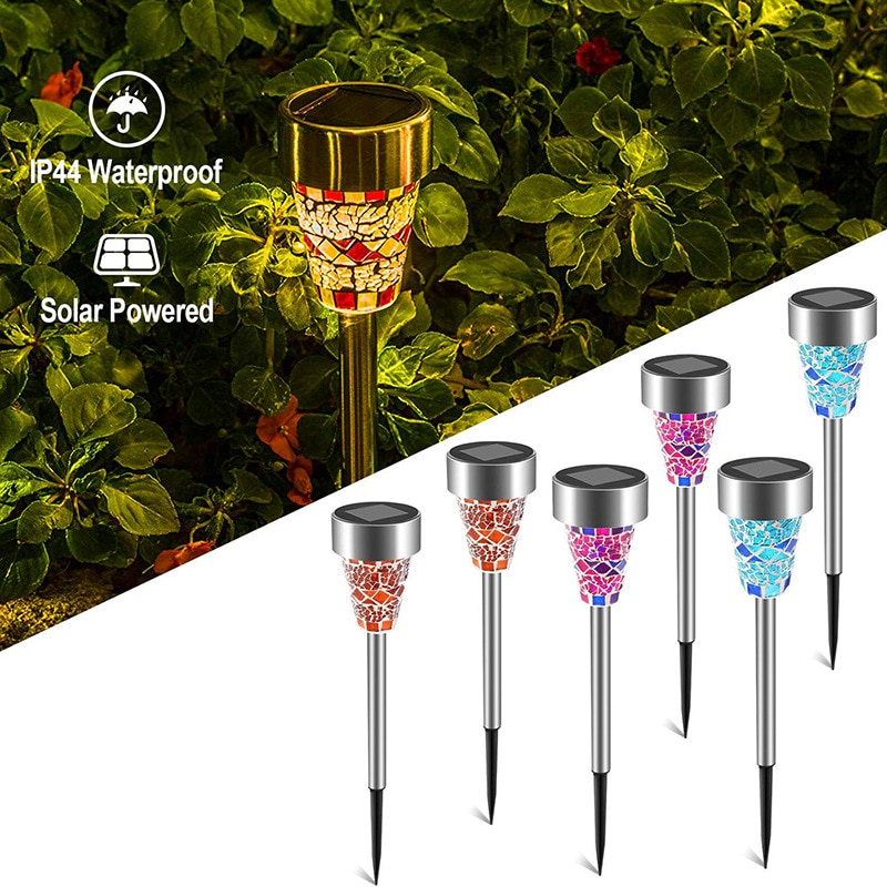 Solar LED lights Outdoor Mosaic Lawn Lamp Outdoor Waterproof Holiday Solar Lantern For Courtyard Garden Decorative Lighting Lamp