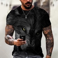 2021 new hot sale new style wolf pattern 3d printing mens casual t shirt summer fashion trend young handsome t shirt tops