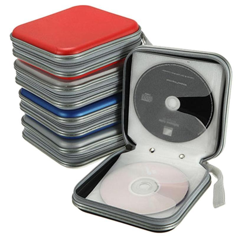 Caja de CD 40 discos portatil 40 piezas capacidad CD DVD billetera de almacenamiento organizador billetera Estuche de plástico Porta CD Estuche organizador