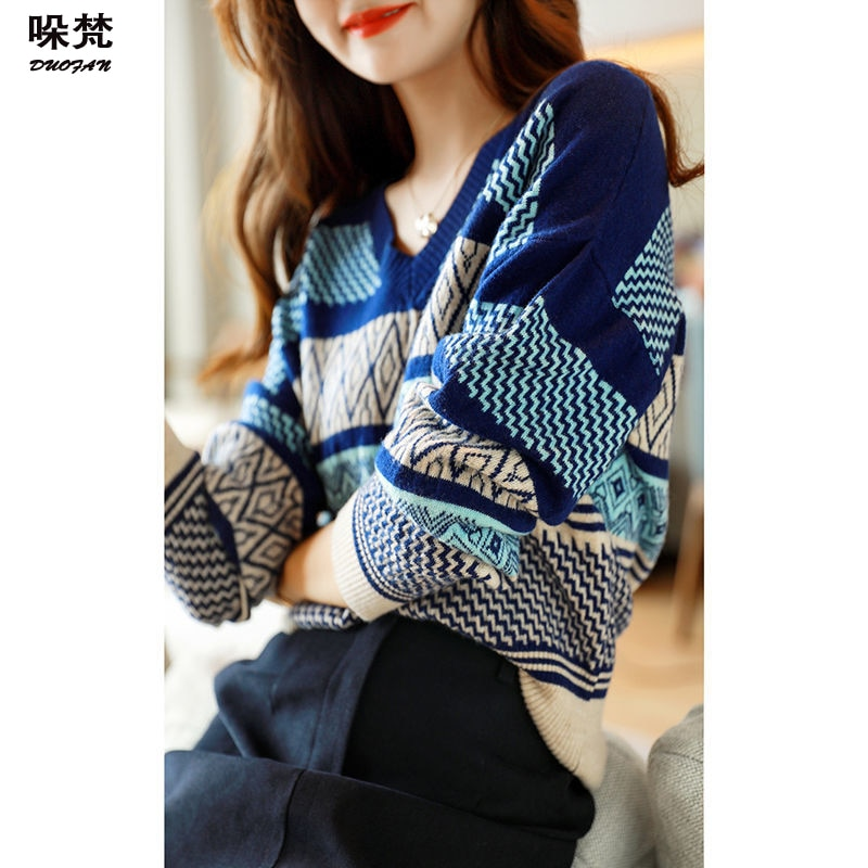 DUOFAN Striped Sweater Women Print V Neck Pullover Knit Loose Jumper Long Sleeve Top Female Clothing Korean Fashion Knitwear sexy bandage lace up sweater women round neck long sleeve oversized loose knit pullover jumper sweater knitwear tops outwear