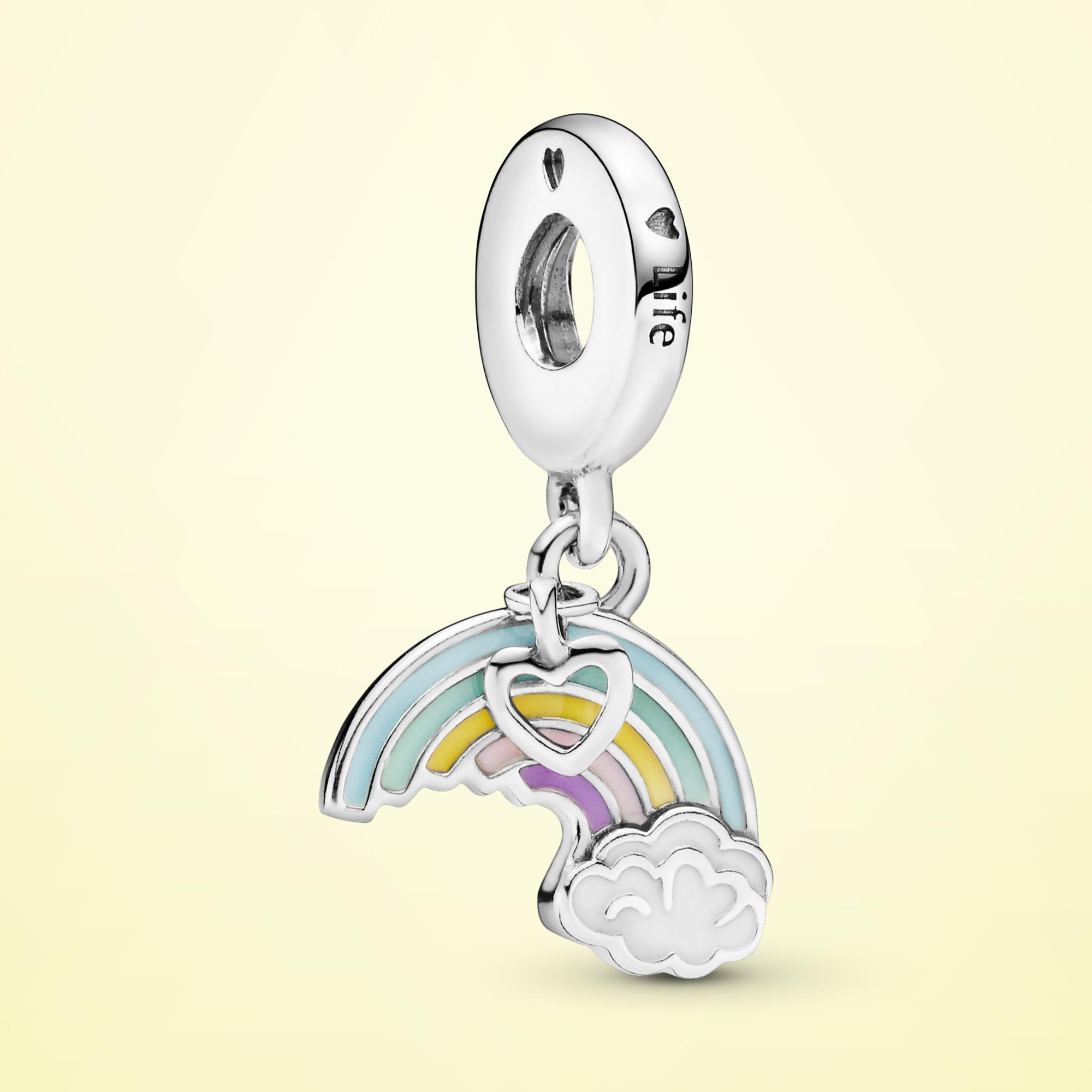 925 Sterling Silver Rainbow and Cloud Dangle Charm Beads Fit Original Pandora Bracelet S925 Jewelry wholesale  PTC115