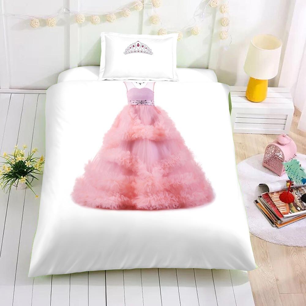 ثلاثية الأبعاد طباعة فستان الأميرة الوردي حاف الغطاء للفتيات مجاميع راحة الفراش الملك الوردي الطفل الفراش مجموعة