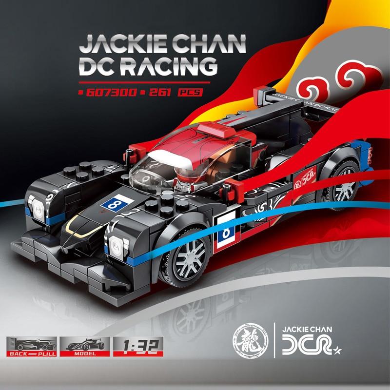 Technics Speed champion No.8 jackie chan DC coche de carreras bloque de construcción pull back vehículo racer figuras ladrillos juguetes para niños regalo