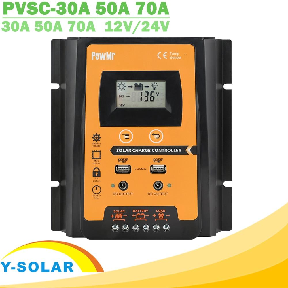 30A 50A 70A MPPT PWM Solar Charge Controller 12V 24V Dual USB Solar Regulator with Big LCD IP32 PV B