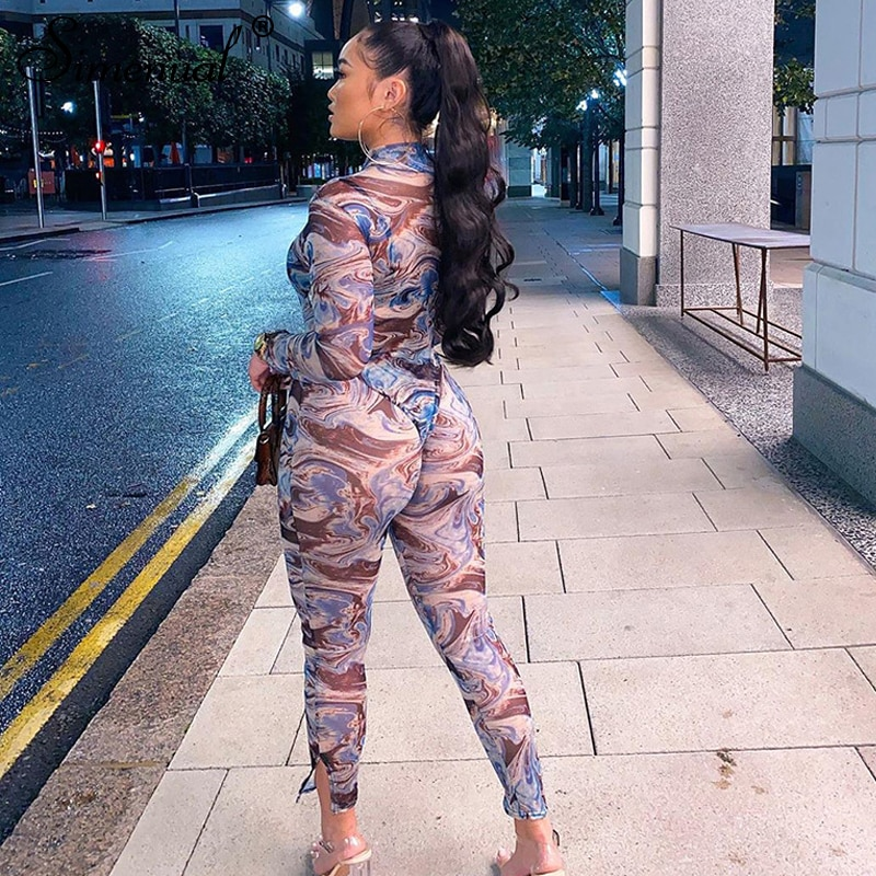 Simenual Sheer Transparent Mesh Hot Sexy Matching Sets Long Sleeve Women Skinny Party Bodysuit And Leggings Two Piece Outfits