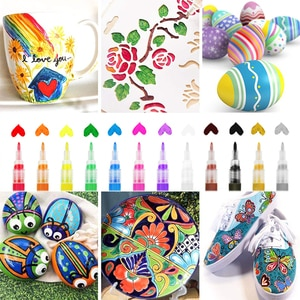 Acrylic Paint Markers Set Water-Based Art Marker Pen Fine Tip for DIY Craft Canvas Ceramic Glass Wood Stone Paper Metal Graffiti